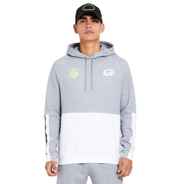 New Era - NFL Green Bay Packers Colour Block Hoodie - Grau Vorderansicht