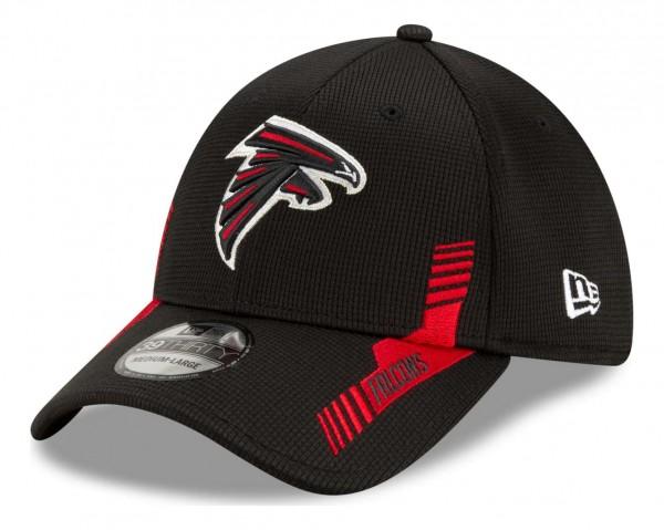 New Era - NFL Atlanta Falcons 2021 Sideline Home 39Thirty Stretch Cap - Schwarz Ansicht vorne schräg links