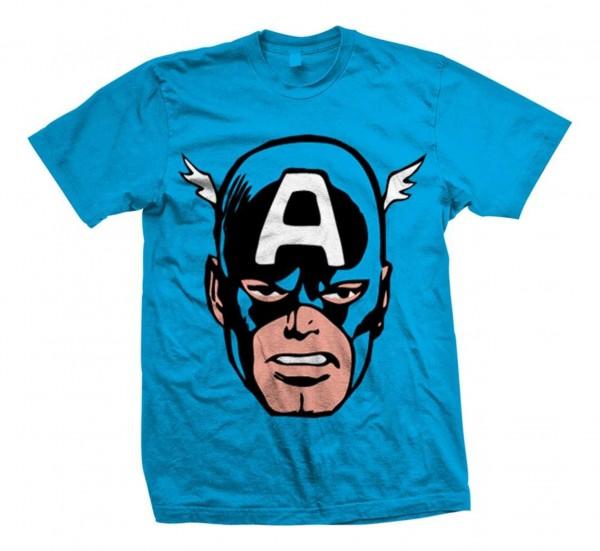 Bravado - Marvel Comics Captain America Big Head T-Shirt - Blau Vorderansicht