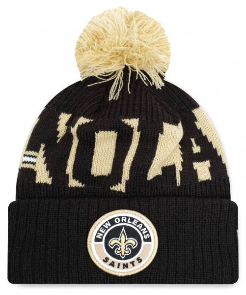 New Era - NFL New Orleans Saints On Field 2020 Sport Knit Bobble Beanie - Schwarz Vorderansicht