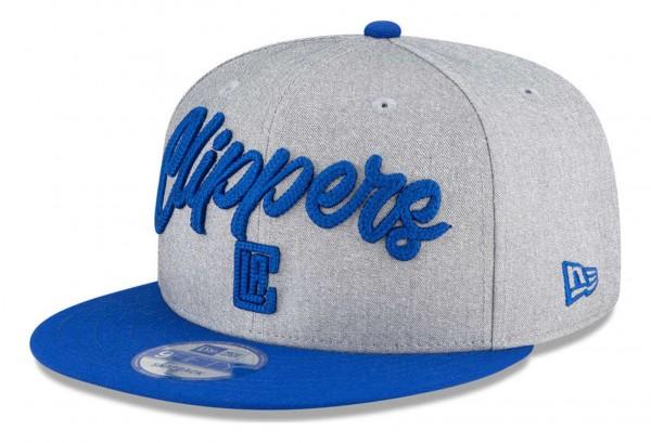 New Era - NBA Los Angeles Clippers 2020 Draft Edition 9Fifty Snapback Cap - Grau-Blau Ansicht vorne schräg links