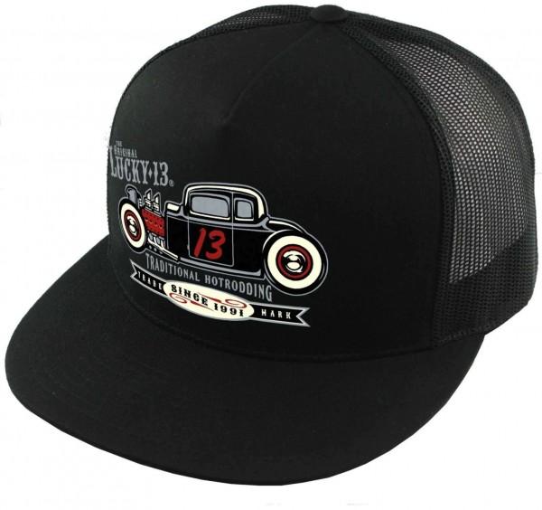 Lucky 13 - The Coupe Trucker Snapback Cap - Schwarz Ansicht schräg vorne