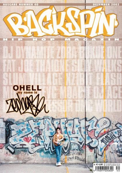 Auf dem Bild ist das Cover zu sehen der BACKSPIN Printausgabe Nummer 40