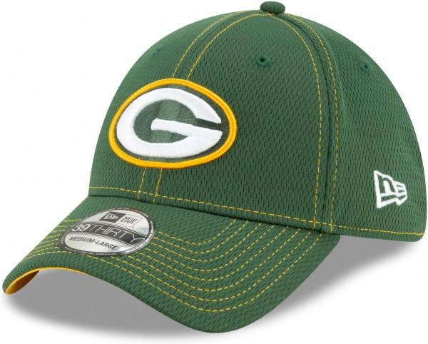 New Era - NFL Green Bay Packers On Field 2019 Sideline Road 39Thirty Stretch Cap - Grün Ansicht schräg links