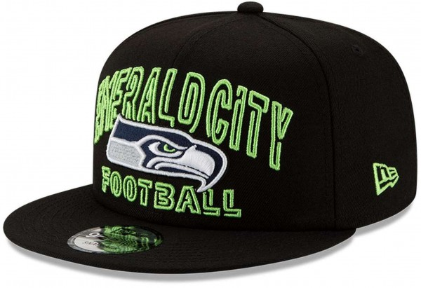 New Era - NFL Seattle Seahawks 2020 Draft Alternative 9Fifty Snapback Cap - Schwarz Ansicht vorne schräg links