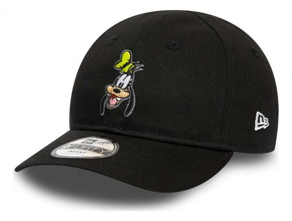 New Era - Disney Goofy Character Face 9Forty Kids Strapback Cap - Schwarz Ansicht vorne schräg rechts