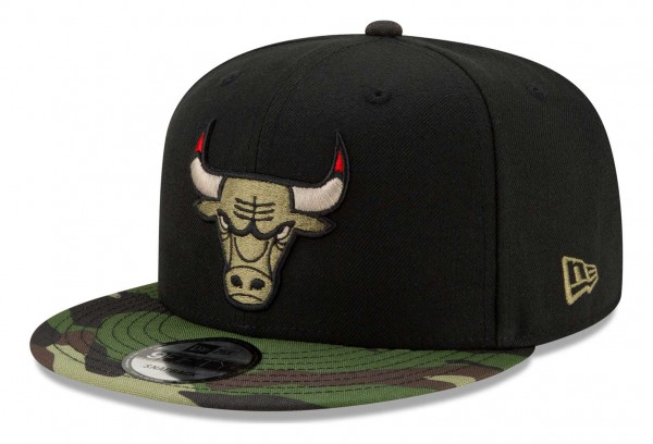 New Era - NBA Chicago Bulls ASG Camo 9Fifty Snapback Cap - Schwarz Ansicht vorne schräg rechts