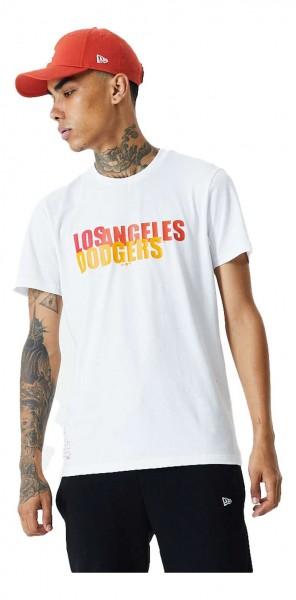 New Era - MLB Los Angeles Dodgers Colour Block Wordmark T-Shirt - Weiß Vorderansicht