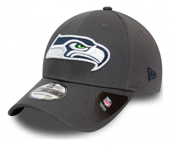New Era - NFL Seattle Seahawks Team 39Thirty Stretch Cap - Grau Ansicht vorne schräg links