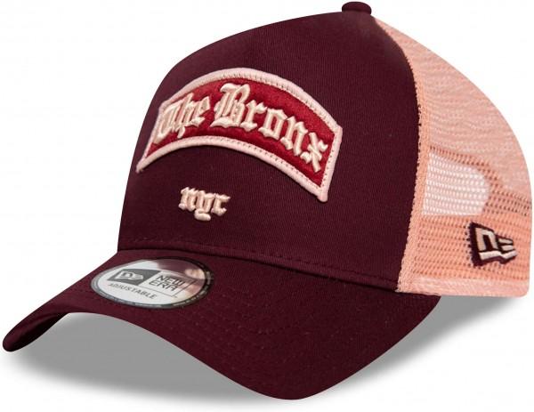 New Era - Bronx NYC A-Frame Trucker Snapback Cap - Rot Ansicht vorne schräg links
