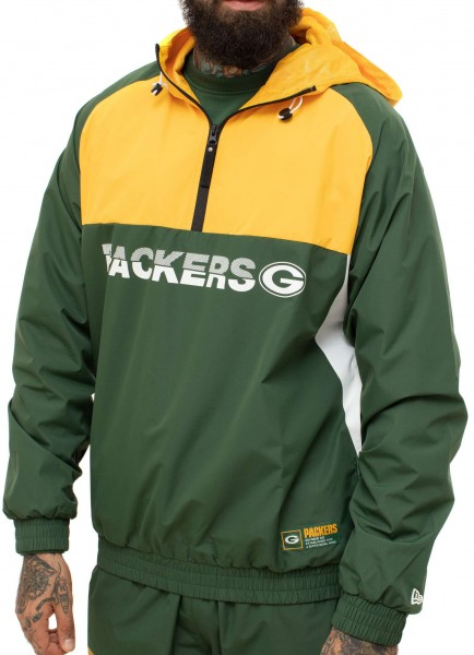 New Era - NFL Green Bay Packers Colour Block Windbreaker Jacke - Mehrfarbig Ansicht schräg links