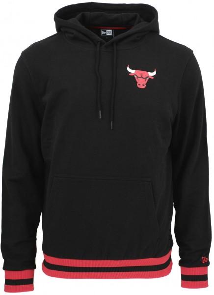 New Era - NBA Chicago Bulls Stripe Rib Hoodie - Schwarz Vorderansicht