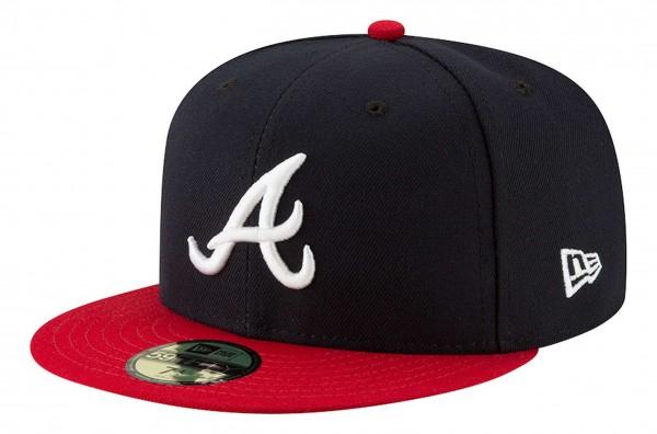 New Era - MLB Atlanta Braves Authentic Collection EMEA 59Fifty Fitted Cap - Blau Ansicht vorne schräg links