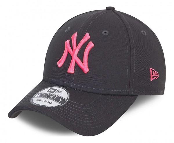 New Era - New York Yankees Neon Pack 9Forty Strapback Cap - Grau Ansicht vorne schräg links