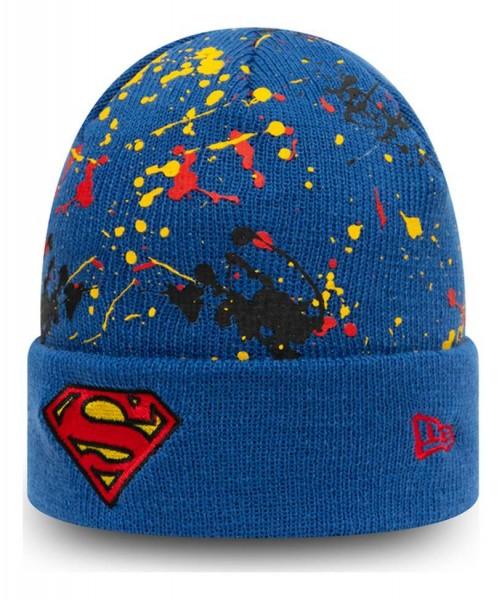 New Era - DC Comics Superman Paint Splat Kids Cuff Beanie - Blau Ansicht vorne schräg links