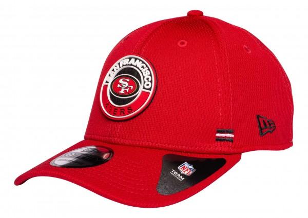 New Era - NFL San Francisco 49ers OnField 2020 Sideline Road Alternative 39Thirty Stretch Cap - Rot Ansicht vorne schräg links