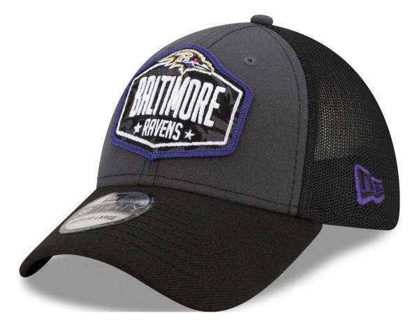 New Era - NFL Baltimore Ravens 2021 Draft 39Thirty Trucker Stretch Cap - Mehrfarbig Ansicht vorne schräg links