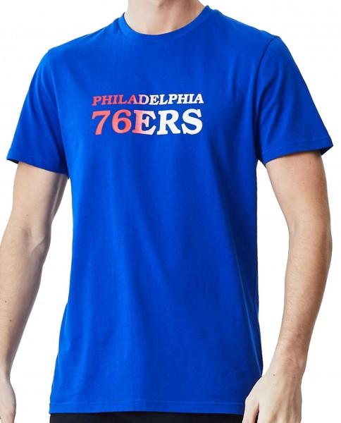 New Era - NBA Philadelphia 76ers Gradient Wordmark T-Shirt - Blau Vorderansicht
