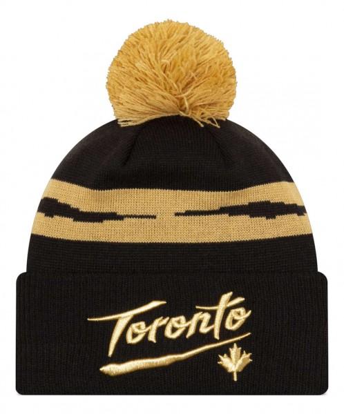 New Era - NBA Toronto Raptors 2020 City Series Official Knit Bobble Beanie - Schwarz Vorderansicht