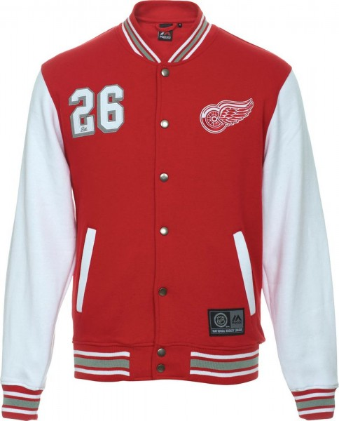 Majestic Athletic - NHL Detroit Red Wings Cotland Fleece Letterman Jacke - Rot frontansicht