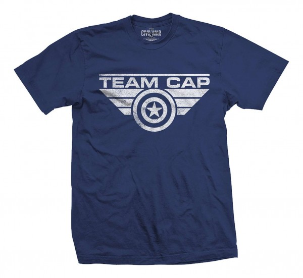 Bravado - Marvel Comics Captain America Team Cap Logo T-Shirt - Blau Vorderansicht