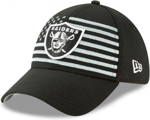 New Era - NFL Oakland Raiders Draft 2019 On-Stage 39Thirty Stretch Cap - Schwarz Ansicht schräg links