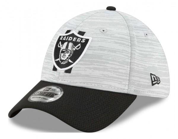 New Era - NFL Las Vegas Raiders 20212 Training 39Thirty Stretch Cap - Grau-Schwarz Ansicht vorne schräg links