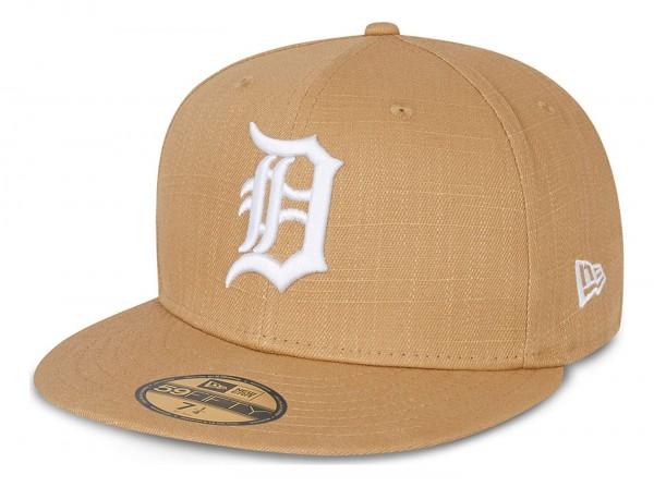 New Era - MLB Detroit Tigers Cotton Ripstop 59Fifty Fitted Cap - Beige Ansicht vorne schräg links