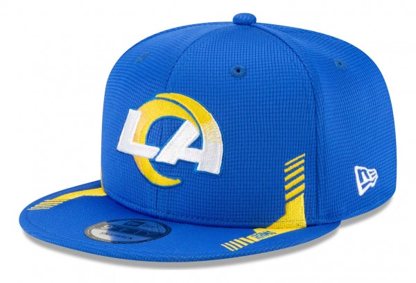 New Era - NFL Los Angeles Rams 2021 Sideline Home 9Fifty Snapback Cap - Blau Ansicht vorne schräg links