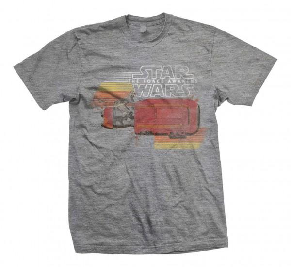 Bravado - Star Wars Episode 7 Reys Speeder Retro T-Shirt - Grau Vorderansicht