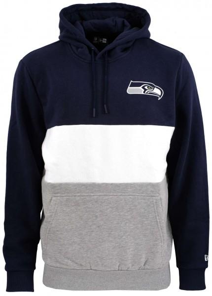 New Era - NFL Seattle Seahawks Colour Block Hoodie - Grau-Weiß-Blau Vorderansicht