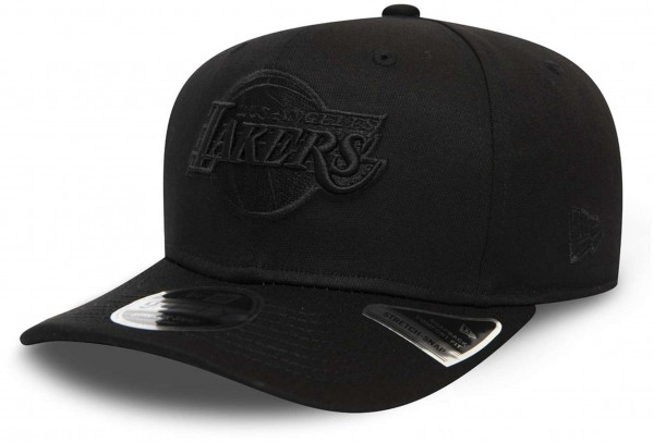 New Era - NBA Los Angeles Lakers Tonal Black 9Fifty Stretch Snapback Cap - Schwarz Ansicht vorne schräg links