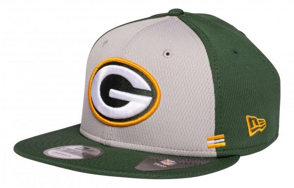 New Era - NFL Green Bay Packers OnField 2020 Sideline Home 9Fifty Snapback Cap - Grün Ansicht vorne schräg links