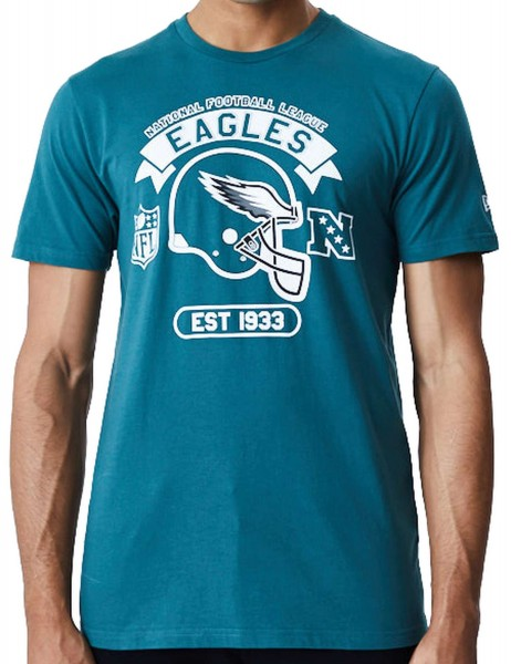 New Era - NFL Philadelphia Eagles Graphic Helmet T-Shirt - Grün Vorderansicht