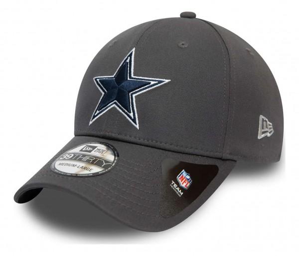 New Era - NFL Dallas Cowboys Team 39Thirty Stretch Cap - Grau Ansicht vorne schräg links