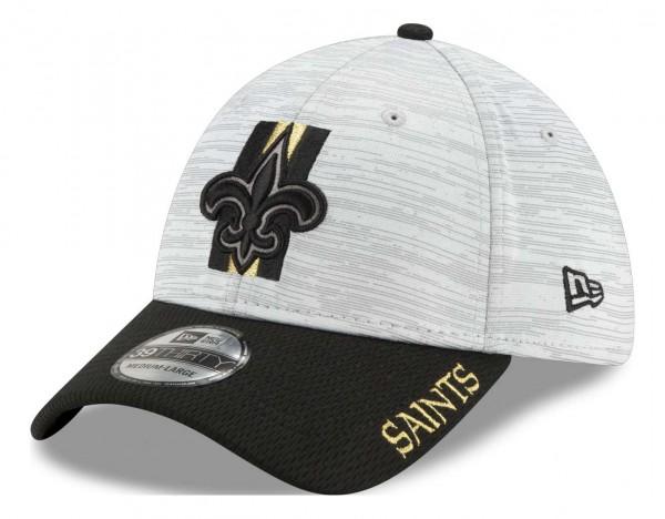 New Era - NFL New Orleans Saints 20212 Training 39Thirty Stretch Cap - Grau-Schwarz Ansicht vorne schräg links