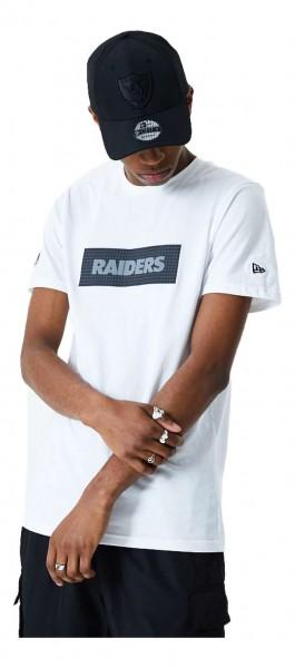 New Era - NFL Oakland Raiders Rip Stop Print Box T-Shirt - Weiß Vorderansicht
