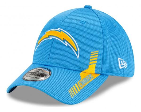 New Era - NFL Los Angeles Chargers 2021 Sideline Home 39Thirty Stretch Cap - Blau Ansicht vorne schräg links