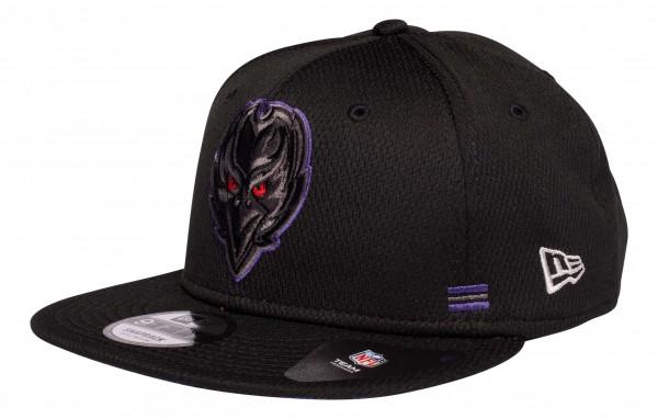 New Era - NFL Baltimore Ravens OnField 2020 Sideline Home 9Fifty Snapback Cap - Schwarz Ansicht vorne schräg links