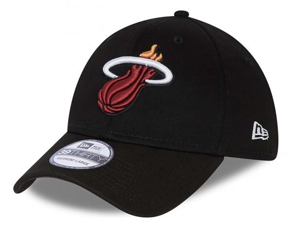 New Era - NBA Miami Heat Core 39Thirty Stretch Cap - Schwarz Ansicht vorne schräg links
