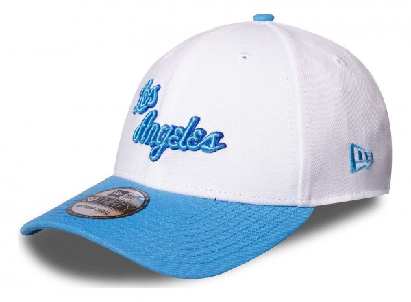 New Era - NBA Los Angeles Lakers Hardwood Classic Nights 39Thirty Stretch Cap - Blau Ansicht vorne schräg links