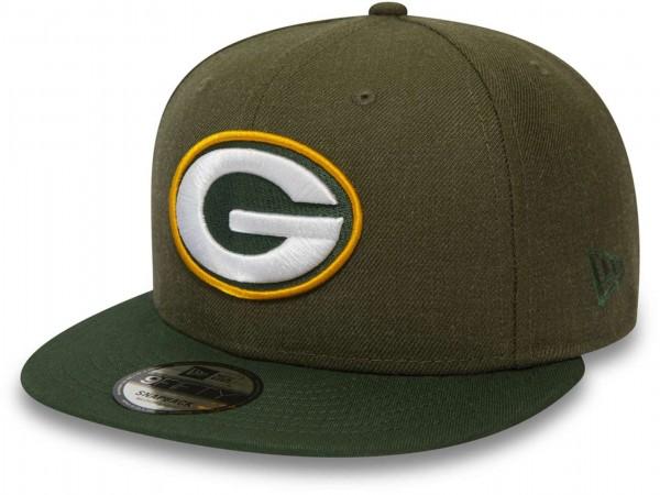 New Era - NFL Green Bay Packers Heather Crown 9Fifty Snapback Cap - Grün Ansicht vorne schräg links