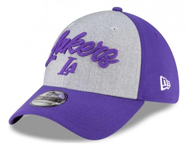 New Era - NBA Los Angeles Lakers 2020 Draft Edition 39Thirty Stretch Cap - Violett Ansicht vorne schräg links