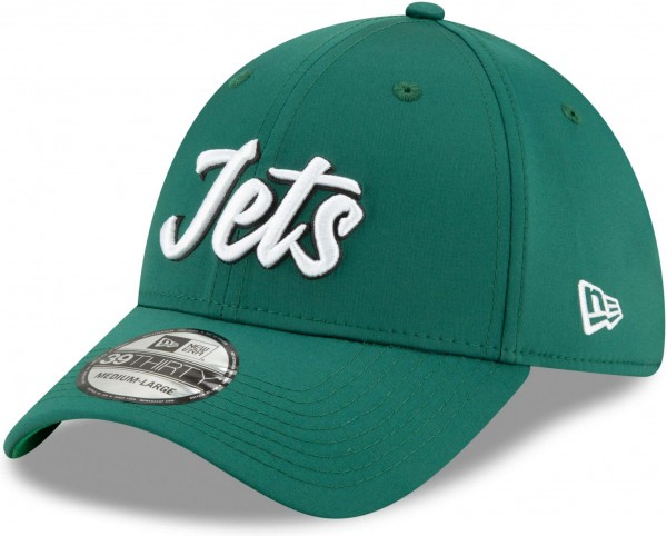 New Era - NFL New York Jets On Field 2019 Sideline Home 39Thirty Stretch Cap - Grün Ansicht schräg links