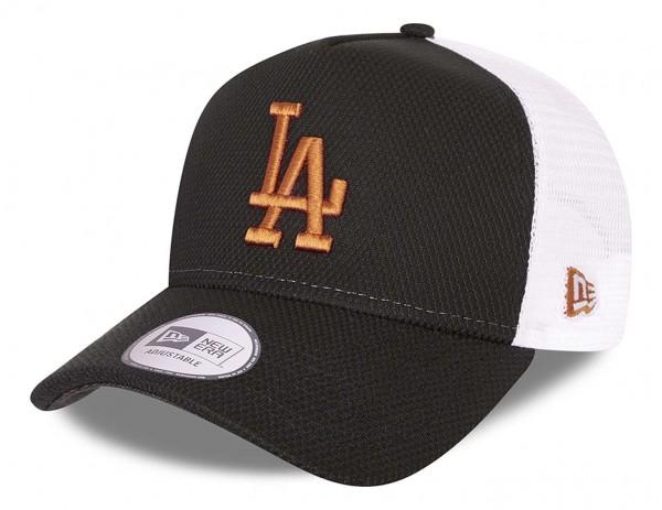 New Era - MLB Los Angeles Dodgers Diamond Era Trucker Snapback Cap - Schwarz Ansicht vorne schräg links