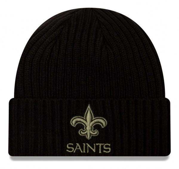 New Era - NFL New Orleans Saints 2020 Salute to Service Knit Beanie - Schwarz Vorderansicht