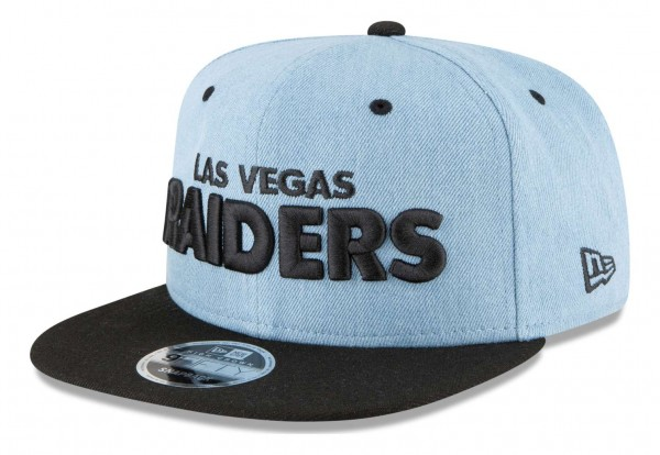 New Era - NFL Las Vegas Raiders Denim Hit 9Fifty Snapback Cap - Blau Ansicht vorne schräg links