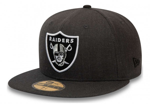 New Era - NFL Las Vegas Raiders Heather 59Fifty Fitted Cap - Grau Ansicht vorne schräg links