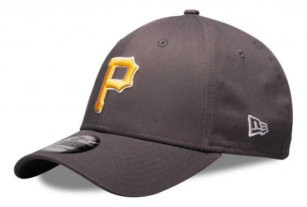 New Era - MLB Pittsburgh Pirates League Essential 39Thirty Stretch Cap - Grau Ansicht vorne schräg links