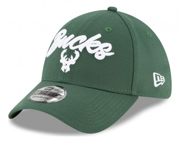New Era - NBA Milwaukee Bucks 2020 Draft Edition Alternative 39Thirty Stretch Cap - Grün Ansicht vorne schräg links